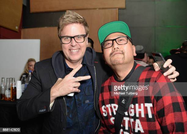 Christian B and Simply Jeff attend Groove Radio's 14th annual Holiday Groove live broadcast and toy drive on December 7 2017 in Los Angeles California