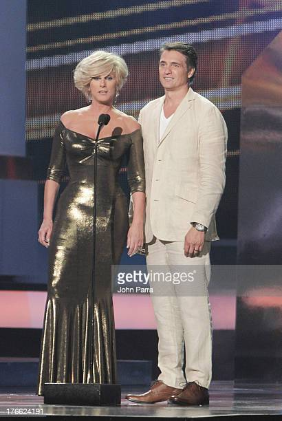Christian Bach and Juan Soler on stage during Telemundo's Premios Tu Mundo Awards at American Airlines Arena on August 15 2013 in Miami Florida