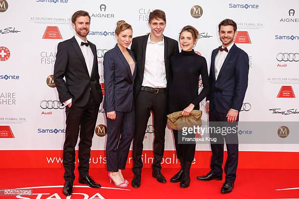 Christian Bach Lena Klenke Merlin Rose Mala Emde and Lucas Reiber during the German Film Ball 2016 at Hotel Bayerischer Hof on January 16 2016 in...