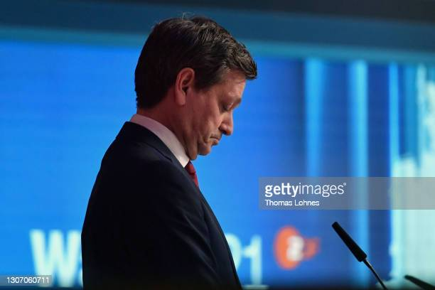 Christian Baldauf, lead candidate in Rhineland-Palatinate of the German Christian Democrats reacts during a TV interview following initial results in...