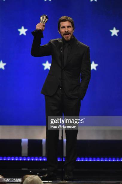 Christian Bale accepts the award for Best Actor In A Movie onstage during the 24th annual Critics' Choice Awards at Barker Hangar on January 13 2019...