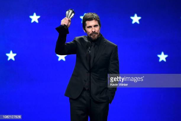 Christian Bale accepts the Best Actor award for 'Vice' onstage during the 24th annual Critics' Choice Awards at Barker Hangar on January 13, 2019 in...