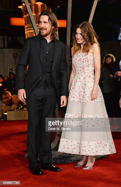 "Christian Bale and Maria Valverde attend the World Premiere of ""Exodus: Gods and Kings"" at Odeon Leicester Square on December 3, 2014 in London,..."