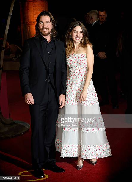 "Christian Bale and Maria Valverde attend the World Premiere of ""Exodus Gods and Kings"" at Odeon Leicester Square on December 3, 2014 in London,..."