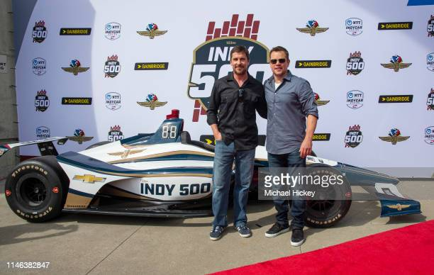 Christian Bale and Matt Damon are seen at the Indianapolis Motor Speedway on May 26, 2019 in Indianapolis, Indiana.