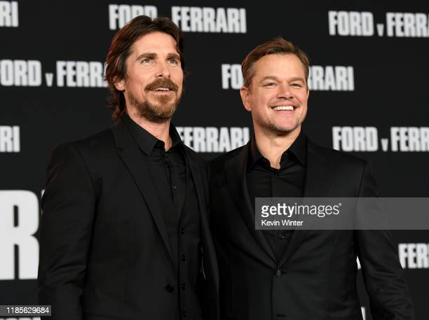Christian Bale and Matt Damon arrive at the premiere of Fox's Ford V Ferrari at the TCL Chinese Theatre on November 04 2019 in Hollywood California