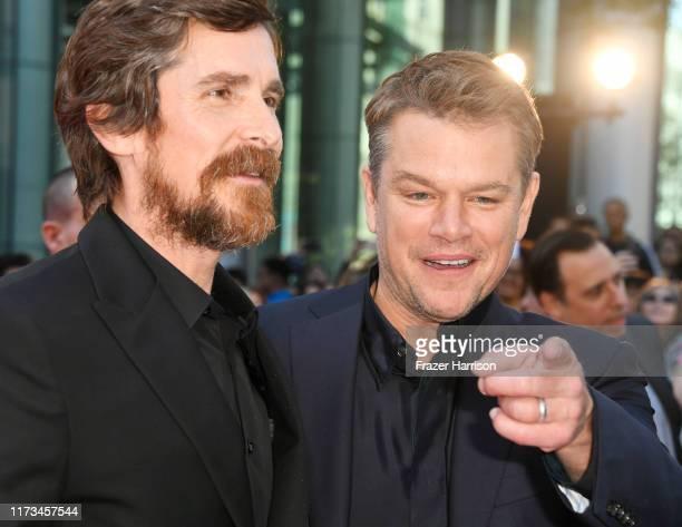 Christian Bale and Matt Damon attend the Ford v Ferrari premiere during the 2019 Toronto International Film Festival at Roy Thomson Hall on September...