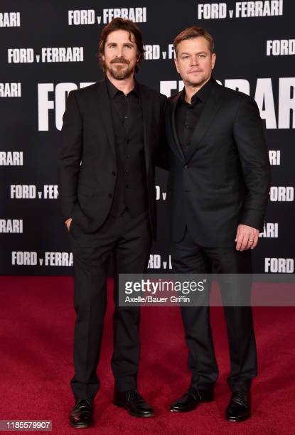 Christian Bale and Matt Damon attend the Premiere of FOX's Ford v Ferrari at TCL Chinese Theatre on November 04 2019 in Hollywood California