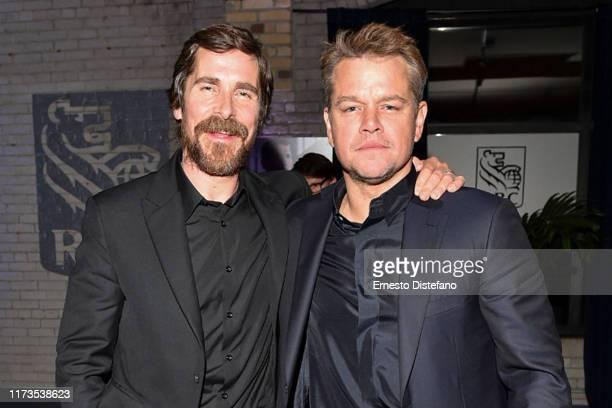 Christian Bale and Matt Damon attend the RBC Hosted Ford v Ferrari Cocktail Party At RBC House Toronto Film Festival 2019 at RBC House on September...