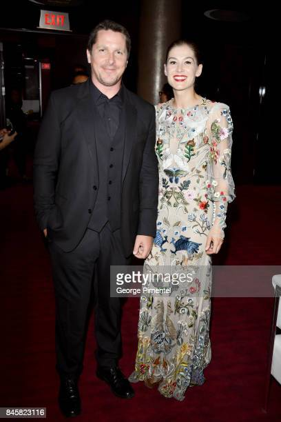 Christian Bale and Rosamund Pike attend the 'Hostiles' premiere during the 2017 Toronto International Film Festival at Princess of Wales Theatre on...