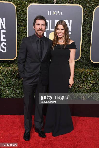 Christian Bale and Sibi Bale attend the 76th Annual Golden Globe Awards at The Beverly Hilton Hotel on January 6 2019 in Beverly Hills California