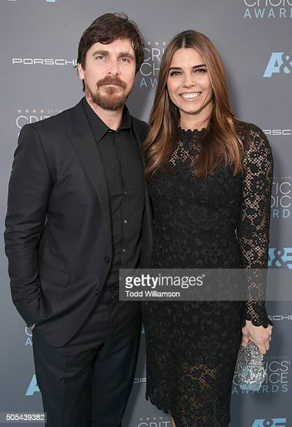Christian Bale and Sibi Blazic attend the 21st Annual Critics' Choice Awards at Barker Hangar on January 17 2016 in Santa Monica California