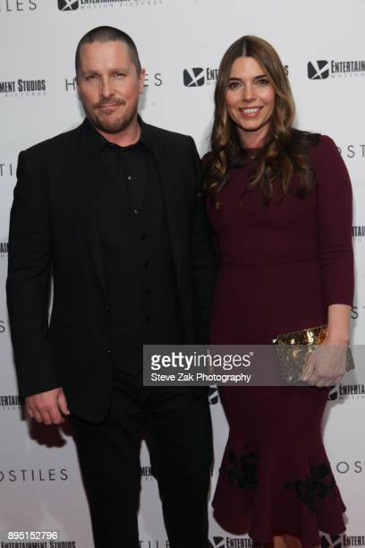 Christian Bale and Sibi Blazic attend the 'Hostiles' New York Premiere at Metrograph on December 18 2017 in New York City