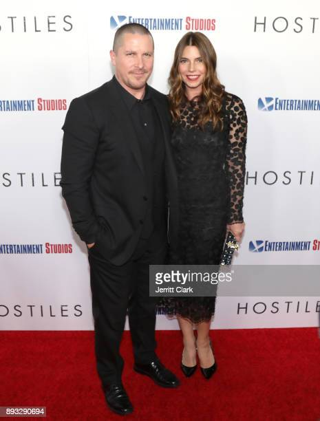 Christian Bale and Sibi Blazic attend the Premiere Of Entertainment Studios Motion Pictures' 'Hostiles' at Samuel Goldwyn Theater on December 14 2017...