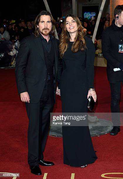 Christian Bale and Sibi Blazic attend the World Premiere of 'Exodus Gods and Kings' at Odeon Leicester Square on December 3 2014 in London England