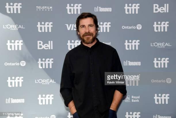 "Christian Bale attends the ""Ford v Ferrari"" press conference during the 2019 Toronto International Film Festival at TIFF Bell Lightbox on September..."