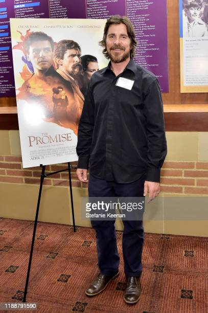 Christian Bale attends The Promise Armenian Institute Event At UCLA at Royce Hall on November 19, 2019 in Los Angeles, California.
