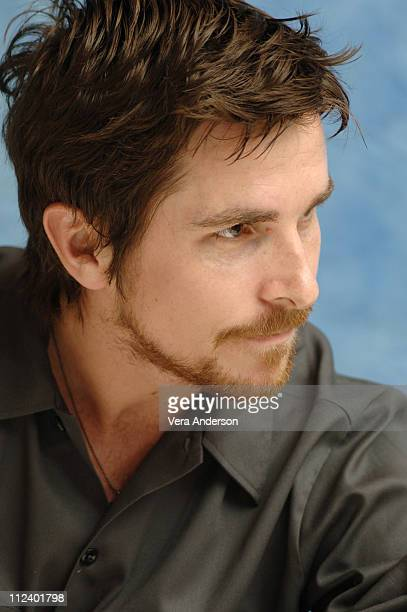 Christian Bale during 'Batman Begins' Press Conference with Christian Bale Katie Holmes Michael Caine and Chris Nolan at Regent Beverly Wislhire...