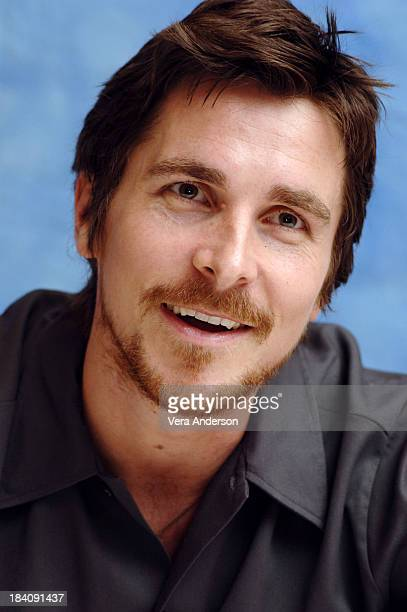 Christian Bale during Batman Begins Press Conference with Christian Bale Katie Holmes Michael Caine and Chris Nolan at Regent Beverly Wislhire Hotel...