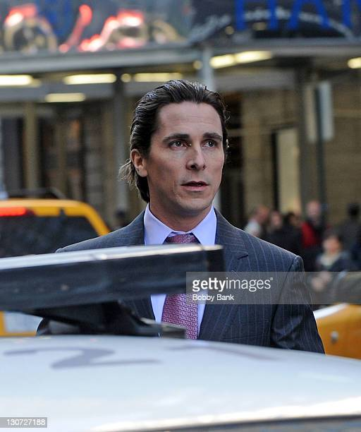 Christian Bale filming on location for 'The Dark Knight Rises' on October 28 2011 in New York City