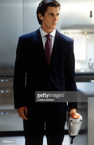 Christian Bale in a scene from the film 'American Psycho', 2000.