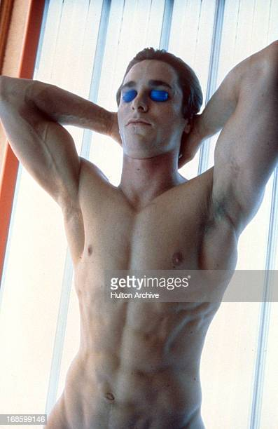Christian Bale in tanning bed in a scene from the film 'American Psycho', 2000.