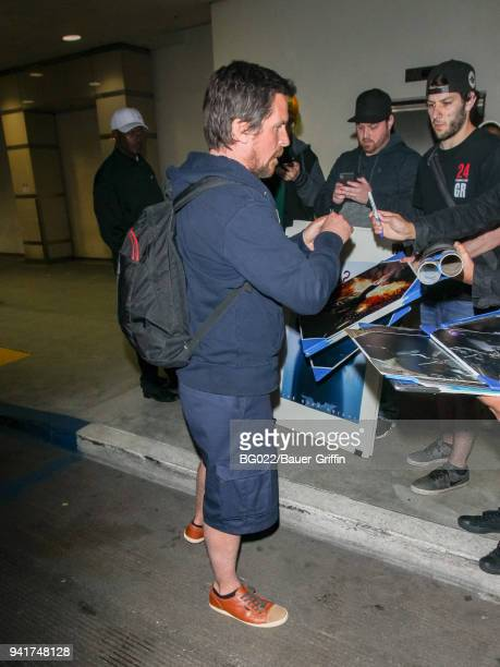 Christian Bale is seen at Los Angeles International Airport on April 03 2018 in Los Angeles California