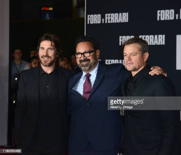 Christian Bale James Mangold and Matt Damon arrive for the Premiere Of FOX's Ford V Ferrari held at TCL Chinese Theatre on November 4 2019 in...