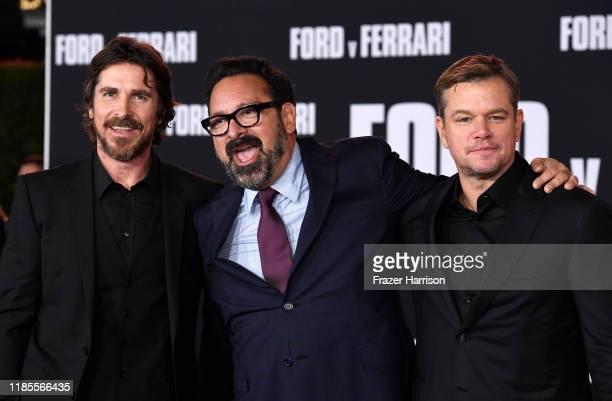 Christian Bale James Mangold Matt Damon attend the Premiere Of FOX's Ford V Ferrari at TCL Chinese Theatre on November 04 2019 in Hollywood California