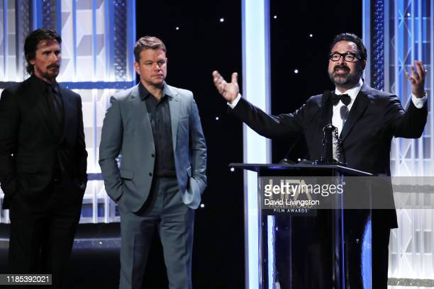 Christian Bale Matt Damon and James Mangold appear on stage at the 23rd Annual Hollywood Film Awards show at The Beverly Hilton Hotel on November 03...