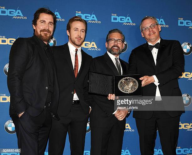 Christian Bale Ryan Gosling Steve Carell and Adam McKay pose in the press room at the 68th annual Directors Guild of America Awards at the Hyatt...
