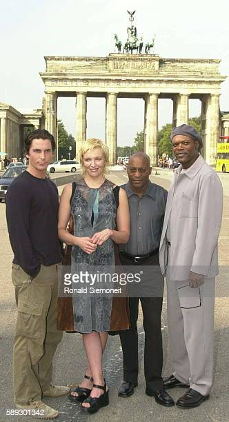 Christian Bale Toni Collette film director John Singleton and Samuel L Jackson in front of the Brandenburg Gate
