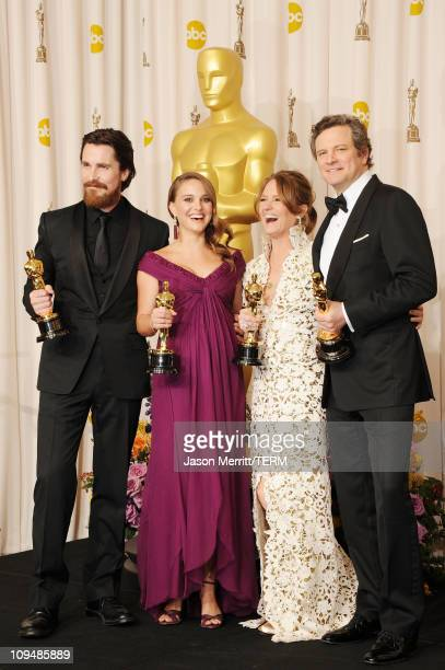 Christian Bale winner of the award for Best Actor in a Supporting Role for 'The Fighter' Natalie Portman winner of the award for Best Actress in a...