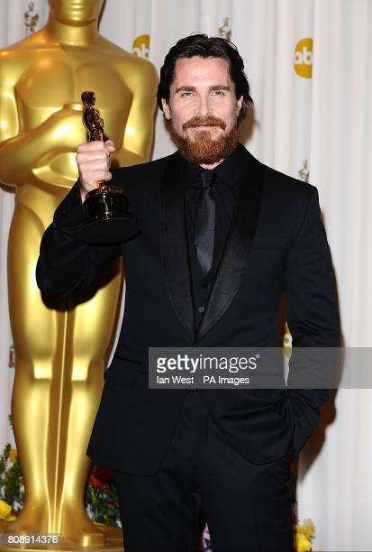 ** Christian Bale with the Best Supporting Actor award received for The Fighter at the 83rd Academy Awards at the Kodak Theatre Los Angeles