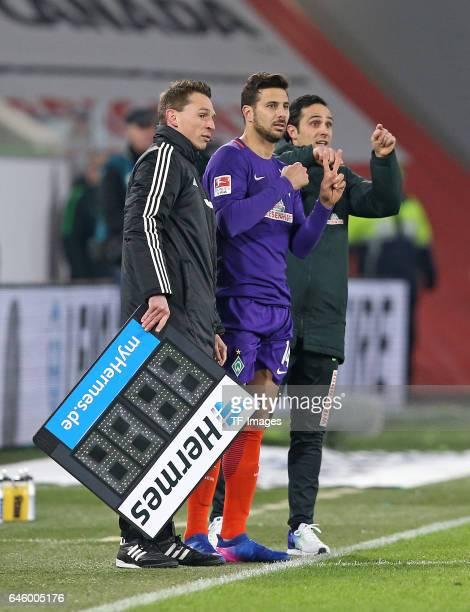 Christian Bandurski Claudio Pizarro of Werder Bremen Head coach Alexander Nouri of Werder Bremen gesture during the Bundesliga match between VfL...