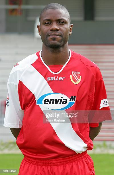 Christian Bassila poses during the Bundesliga 2nd Team Presentation of FC Energie Cottbus on July 13 2007 in Jena Germany