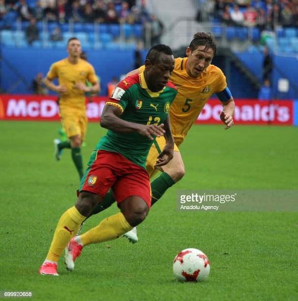 Christian Bassogog of Cameroon in action against Mark Milligan of Australia during the Confederations Cup 2017 match between Cameroon Australia at...