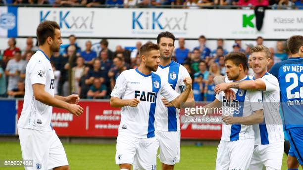 Christian Beck Michel Niemeyer Marius Sowislo Andreas Ludwig and Philip Tuerpitz of Magdeburg celebration the goal 01 for Magdeburg during the 3 Liga...