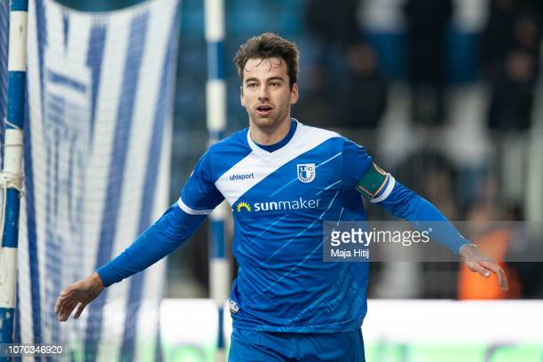 Christian Beck of 1FC Magdeburg celebrates after scoring his team's first goal during the Second Bundesliga match between 1 FC Magdeburg and 1 FC...