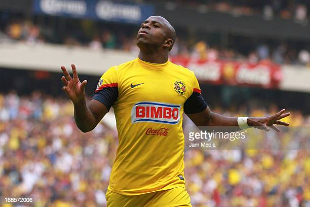 Christian Benitez of America celebrates a goal during a match between America and Pumas as part of the Clausura 2013 Liga MX at Olimpico Stadium on...
