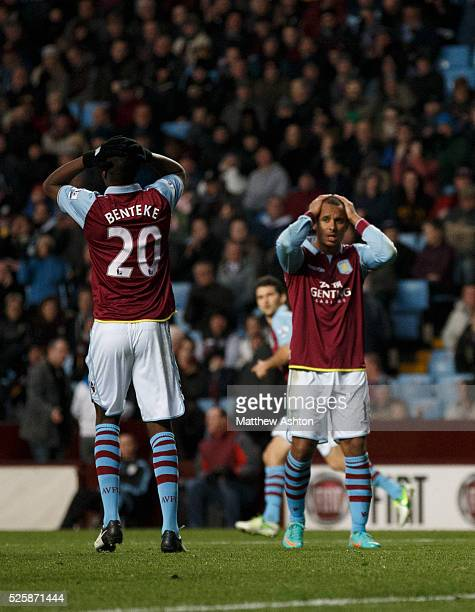 Christian Benteke and Gabriel Agbonlahor of Aston Villa show their frustration durning the game