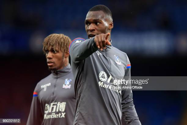 Christian Benteke and Wilfried Zaha of Crystal Palace during the Premier League match between Chelsea and Crystal Palace at Stamford Bridge on March...