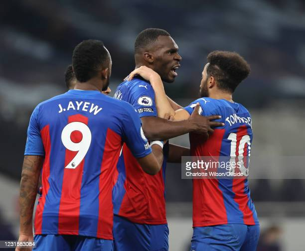 Christian Benteke celebrates his equalising goal with his Crystal Palace teammates in the first half during the Premier League match between...