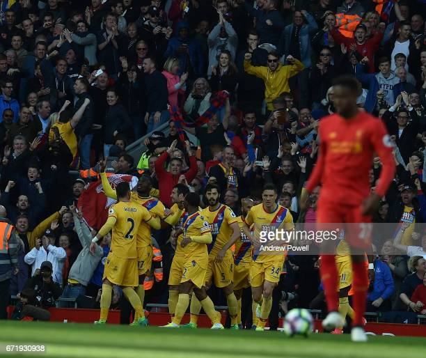 Christian Benteke Celebrates The Second goal for Crystal Palace during the Premier League match between Liverpool and Crystal Palace at Anfield on...