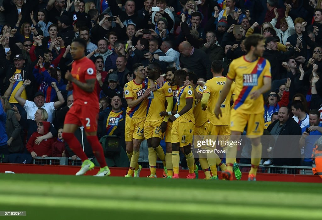 Christian Benteke Celebrates The Second goal for Crystal Palace during the Premier League match between Liverpool and Crystal Palace at Anfield on April 23, 2017 in Liverpool, England.