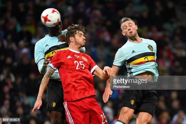 Christian Benteke forward of Belgium scores a goal Roman Neustadter defender of Russia Toby Alderweireld defender of Belgium during the International...