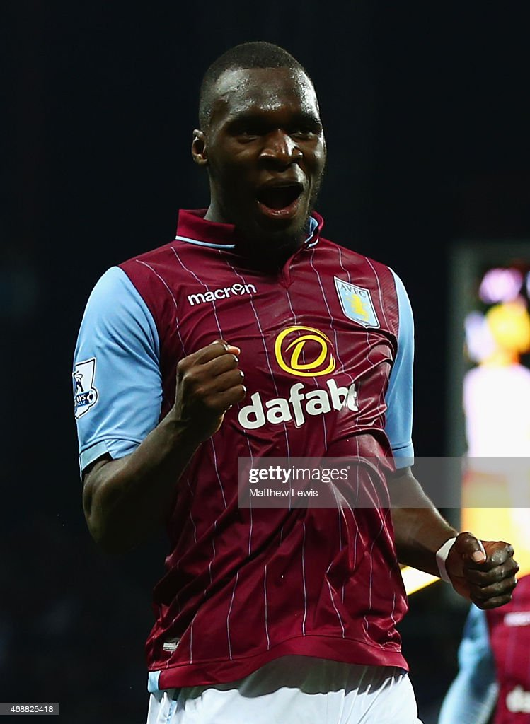 Christian Benteke of Aston Villa celebrates as he scores their second goal during the Barclays Premier League match between Aston Villa and Queens Park Rangers at Villa Park on April 7, 2015 in Birmingham, England.