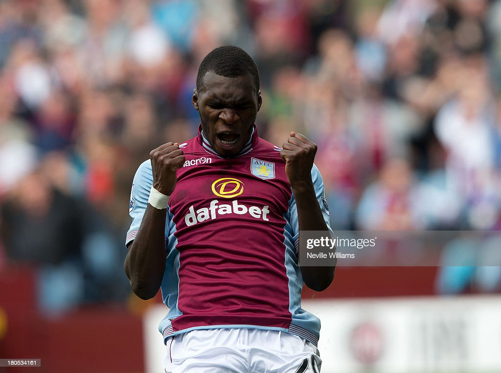 Christian Benteke of Aston Villa celebrates during the Barclays Premier League match between Aston Villa and Newcastle United at Villa Park on September 14, 2013 in Birmingham, England.