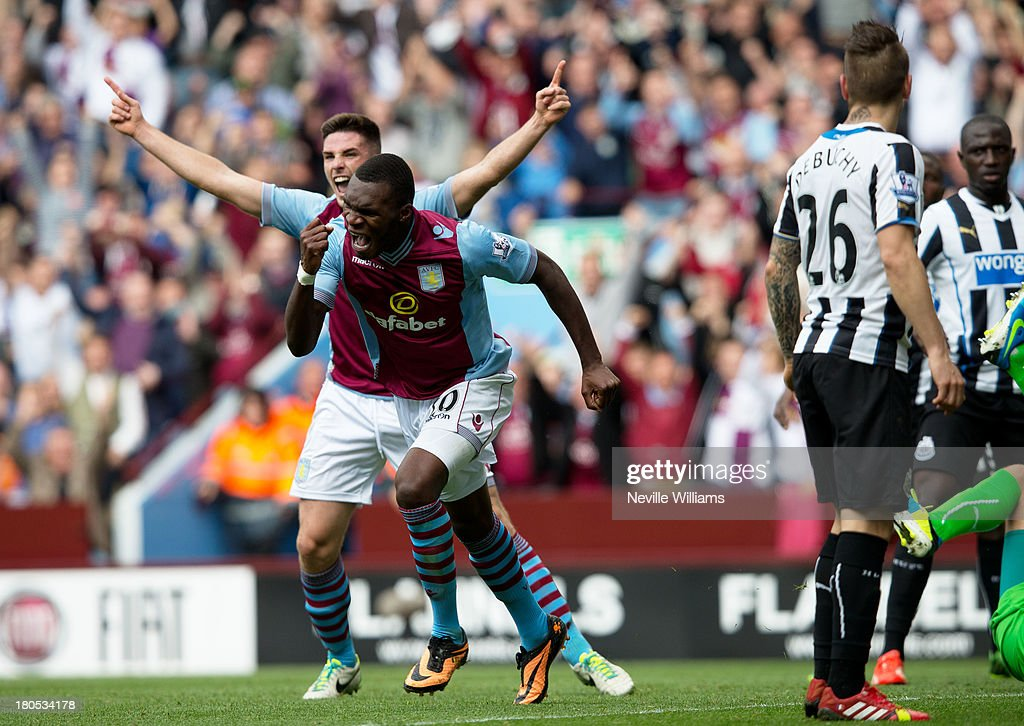 Christian Benteke of Aston Villa celebrates for Aston Villa during the Barclays Premier League match between Aston Villa and Newcastle United at Villa Park on September 14, 2013 in Birmingham, England.