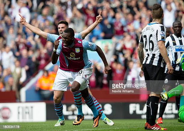 Christian Benteke of Aston Villa celebrates for Aston Villa during the Barclays Premier League match between Aston Villa and Newcastle United at...